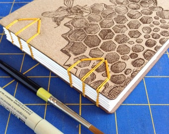 Honeybee Sketchbook with watercolor paper lays flat  - gift for an artist or gardener - 48 Page Unlined Art Journal
