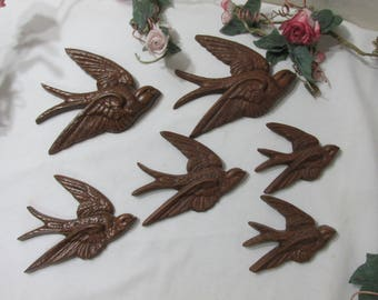 Brown Swallows Wall Hanging Set of 6 Burwood Sparrow Birds 1983