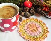 Gold Flower Coasters - Crochet Coasters - Flower Coasters - Gift for Mom - Gift for Her - Kitchen Decor - Table Decor - Set of 2 - Rug Mug