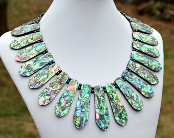 Abalone Necklace Goddess Statement Jewelry Shell Rainbow Colorful Fan Collar Cleopatra Necklace Rare Unique Couture High Fashion Mei Faith