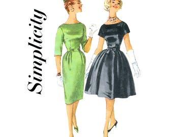 60s Wiggle Dress or Full Skirt Dress Pattern Simplicity 3592 Bateau Neckline Cocktail Dress Women Bust 36 Vintage Sewing Pattern