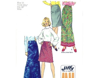 1970s Jiffy Skirt Pattern Simplicity 5982 Straight Maxi Skirt or Above Knee Slim Skirt Womens Size 12 Vintage Sewing Pattern UNCUT