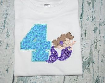 Monogrammed Mermaid Birthday Shirt, Personalized Girls Birthday Shirt, Custom age Nautical Girls Party Shirt