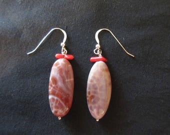 Sterling Silver Crab Fire Agate and Red Coral Shell Hook Earrings