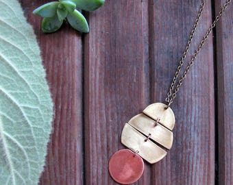 Planetary Necklace - Mixed Metal Necklace - Copper and Brass Necklace - Artisan Tangleweeds Jewelry