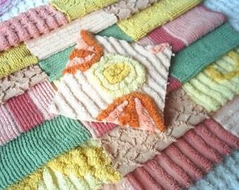 """Vintage Chenille Bedspread Squares-Autumn Colors-22-6"""" squares"""