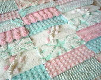 Vintage Chenille Bedspread Squares in Aqua and Pink-Sweet-24-6""
