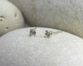 Tiny Rose Quartz Earrings with Sterling Silver Posts, second hole pink stud earrings