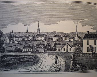 Grafton Massachusetts Historical Town Engravings - New England Antiquarian Society - framable gift history small town 1800 scene