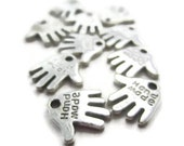 20 Silver Metal Hand Charm Tags Stamped Hand Made Craft Embellishment for Packaging Nickel Free