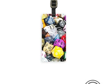 Luggage Tag Dice RPG Gamer D20 D6 Mix Printed Personalized Luggage Tag Metal Tag  Custom backs