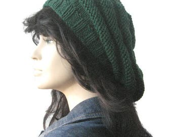 Green Hand Knit Hat, Beehive Knit Beret, Vegan Hat, Womens Accessories, Dark Green Slouchy Beanie Hat, Green Knitted Hat