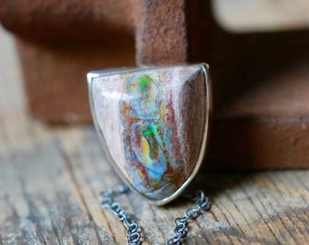 Raw Rainbow Fire Opal Necklace