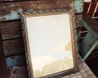 Vintage Metal Picture Frame Hollywood Regency Large 11x14 Mid Century Vanity Tray Ormolu Metal Ornate Baroque Frame with Glass White Wash