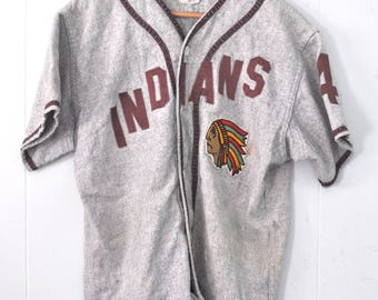 Amazing Vintage 50s Baseball Jersey Indians by Felco nyc Adult Vermont vt MEDIUM LARGE