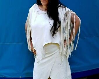 Buckskin Ceremonial Dress - Deerskin Powwow Regalia. Wrap Skirt & Fringe Top, Native American Deerskin Regalia, Leather Wedding Dress