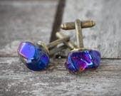 Modern Sapphire Blue AB Quartz Men Cufflinks OOAK cuff links for him groomsmen gift minimalist design
