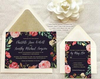 Garden Wreath Watercolor Wedding Invitations - Garden Wedding - Watercolor Wedding - Floral Wedding - Spring Wedding