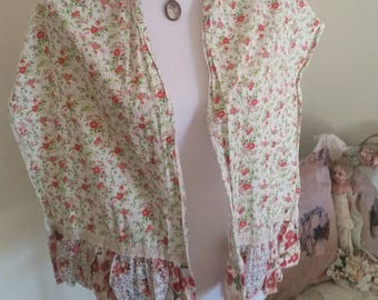 boho shabby scarf, tiny blossom print, patchwork scarf, scalloped edge, gypsy summer, floral scarf