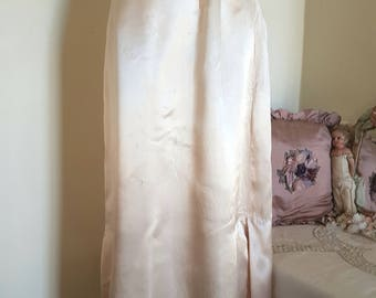 old silk look petticoat, TLC has issues, long beige slip, vintage underwear, plackets darts, well made