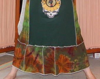 NEW China Cat Tie Dye Grateful Dead T Skirt Tie Dye Festival Hippie Shirt OOAK Patchwork