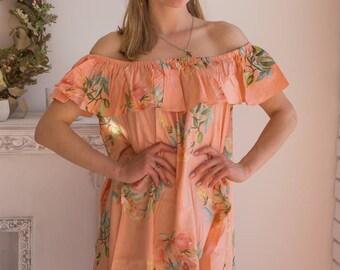 Peach floral off shoulder Shift Dress| Summer Dress| Workwear| Sundress| Tunic| Boho Dress| Short Dress| Street Style