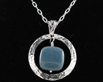 Leland Bluestone pendant necklace with sterling silver N1904