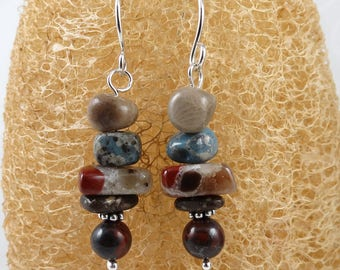 Stacked Michigan stones earrings, Petoskey stone, Leland bluestone, puddingstone, jasper-hematite, copper firebrick & sterling silver E1390