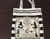 Tote bag, book bag, Alice in Wonderland, bag, canvas bag, black and white, library bag, cards, Alice in Wonderland tote bag, book bag