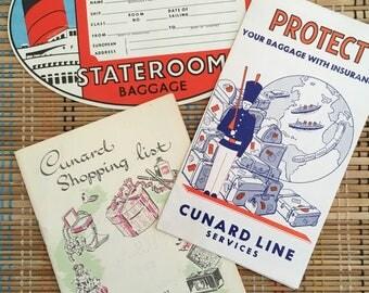 Set of Pristine Vintage Cunard Line Steamship Passenger Ephemera