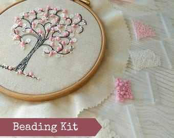 Jewel Tree Beading Kit. Add the blossom using beads and sequins to a pre-stitched tree on natural linen. Hoop included