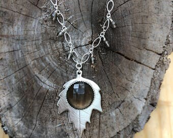 Oak Leaf and Smoky Quartz Sterling Silver Necklace - Brown and Silver Necklace - Leaf Pendant with Smoky Quartz Gemstone - Botanical Jewelry