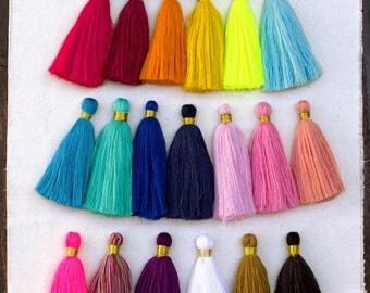 Long Cotton Tassels, 4 Inch,   Mala Tassel, Decorative Tassels, Gold Thread,   Cotton Tassel, Large Tassel