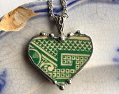 100+ year old rare china, Broken China Jewelry, Heart Pendant, rare china, green willow, antique broken china, Dishfunctional Designs