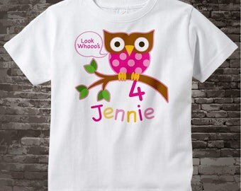 4th Birthday Owl Shirt, Pink Girls Owl Birthday Shirt Personalized with Child's Name and age t-shirt 01312014i