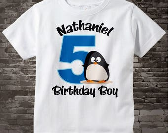 Penguin Birthday Shirt Personalized Birthday Boy Penguin Theme Tee Shirt or Onesie 01122012a