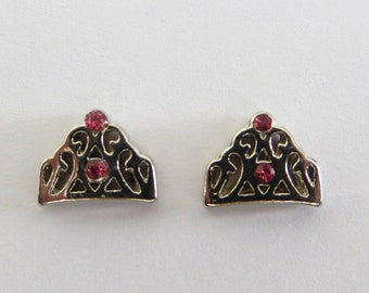 Magnetic Princess Crown Earrings Clip on non pierced ears