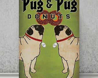 FREE CUSTOM Personalization -- Pug & Pug Donuts ILLUSTRATION Giclee Print signed