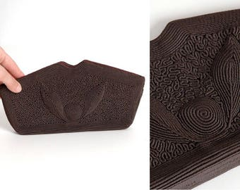 new-old 1940s raised design brown corde purse * vintage handbag clutch * AC133
