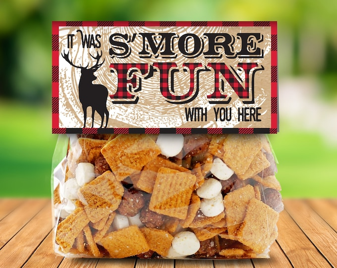 """Lumberjack Party Favor Bag Topper - S'more Treat Favor Topper, S'more Treats, 4"""" Baggie Pre-Typed Topper 