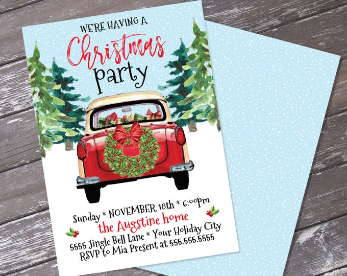 Christmas Party Invitation, Red Car Invite, Holiday Party invitation, Xmas Party | Editable Text, Instant Download PDF Printable