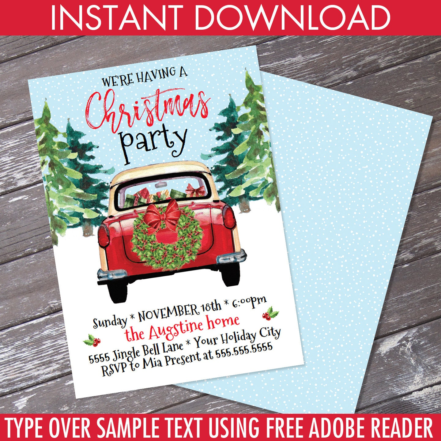 Christmas Party Invitation Red Car Invite Holiday Party