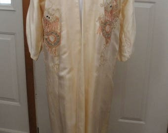 Vintage Asian Robe with Embroidered Dragons -  Off White Satin Robe