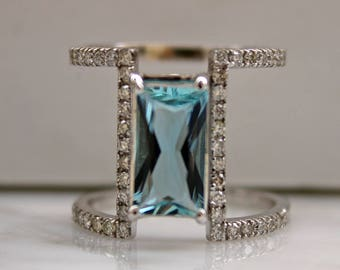 Aquamarine Ring, Diamond Aqua Ring, Statement Ring, Santa Maria Aqua, Aquamarine Stone, March Birthstone, Double Band Ring, Appraisal