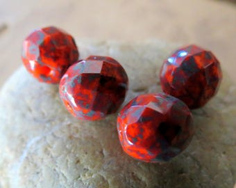 NEW SUMMER ORANGE Rounds . Czech Fire Polished Picasso Glass beads (8 beads) 10 mm