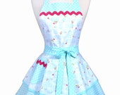 PLUS SIZE Womens Ruffled Retro Apron - Aqua Bird Cages Womans Pinup Kitchen Apron with Pocket to Personalize or Monogram (DP)
