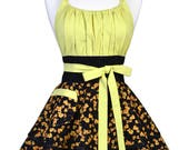 Flirty Chic Retro Apron - Womens Sexy Gold and Black Fall Floral Hostess Pinup Apron (DP)