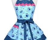 Ruffled Retro Apron - Aqua Blue Happy Hooters Owls Kitchen Apron - Womens Sexy Cute Pinup Apron with Pocket - Monogram Option