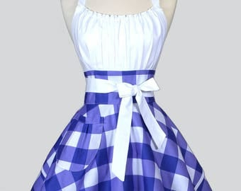 Womens Flirty Chic Apron - Large Purple and White Gingham Check Cute Retro Vintage Style Cute Pin Up Kitchen Apron with Full Skirts