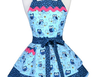 Womens Ruffled Retro Apron in Cute Flirty Happy Hooters Owls in Aqua Blue Apron with Pocket to Personalize or Monogram (DP)